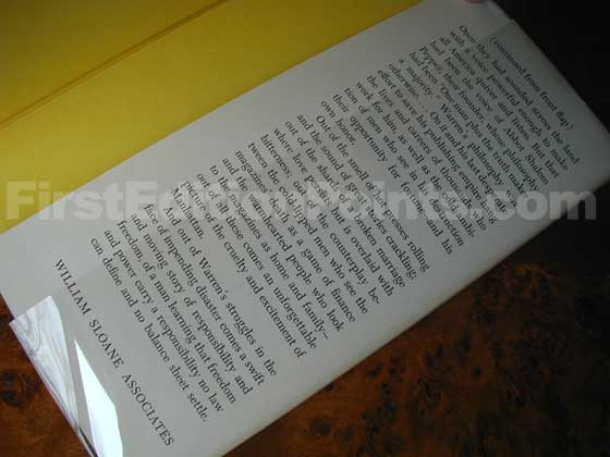 Picture of the back dust jacket flap for the first edition of The View from the Fortieth