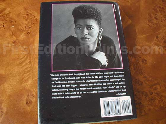 Picture of the back dust jacket for the first edition of Waiting to Exhale.