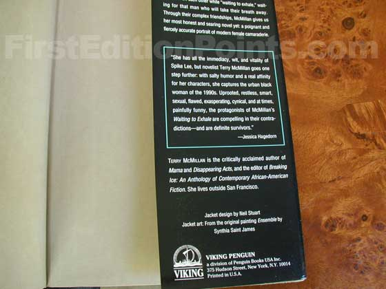 Picture of the back dust jacket flap for the first edition of Waiting to Exhale.