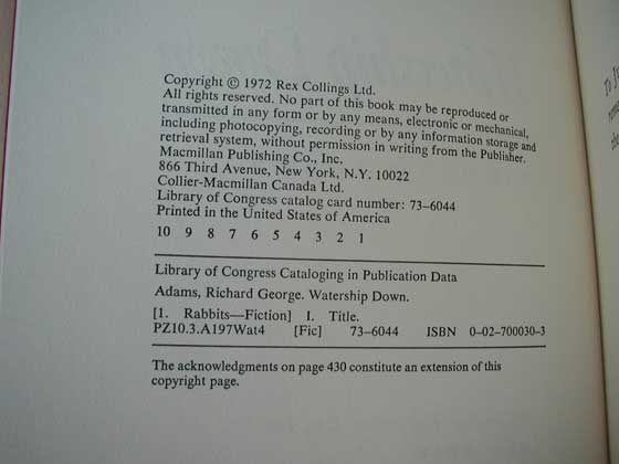 Picture of the first edition copyright page for Watership Down (U.S.).