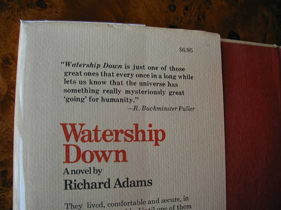 Picture of dust jacket where original $6.95 price is found for Watership Down (U.S.).