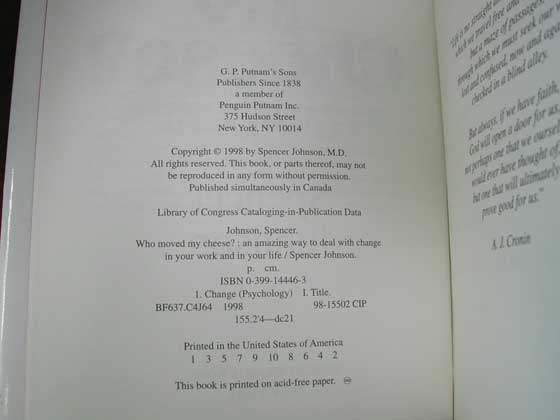 Picture of the first edition copyright page for Who Moved my Cheese?.