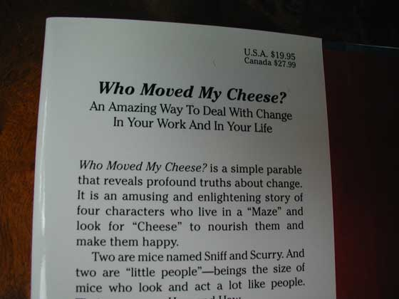 Picture of dust jacket where original $19.95 price is found for Who Moved my Cheese?.