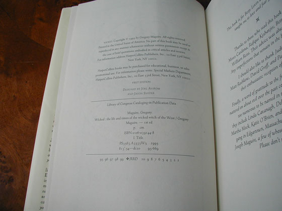 Picture of the first edition copyright page for Wicked.