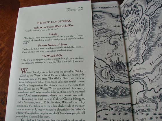 Picture of dust jacket where original $24.00 price is found for Wicked.