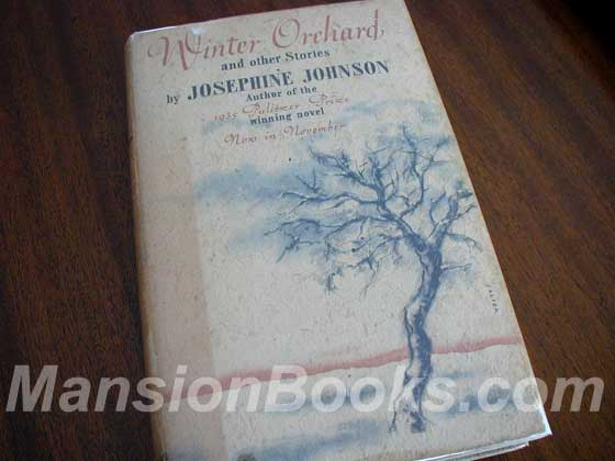 Picture of the 1935 first edition dust jacket for Winter Orchard.