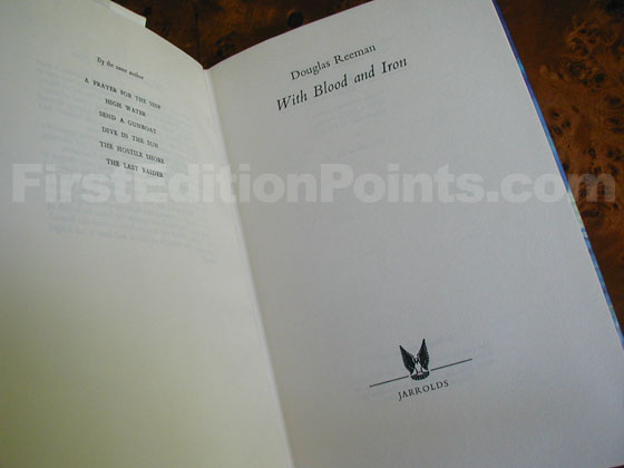 Picture of the first edition title page for With Blood and Iron.