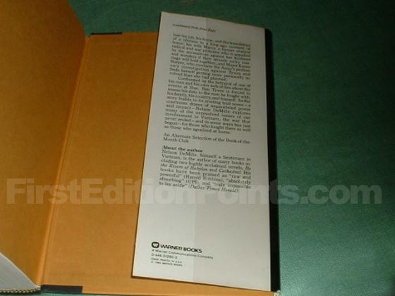 Picture of the back dust jacket flap for the first edition of Word of Honor.
