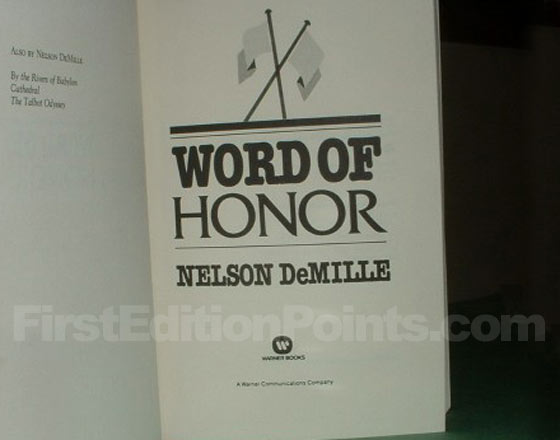 Picture of the first edition title page for Word of Honor.