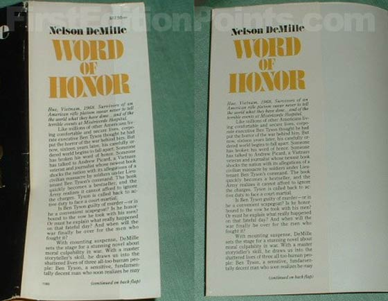The dust jacket flap on the left is from the true first edition.  The dust jacket flap on