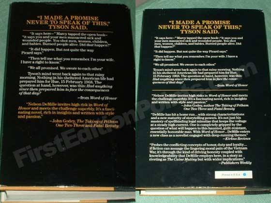 The dust jacket back on the left is from the true first edition.  The dust jacket back on