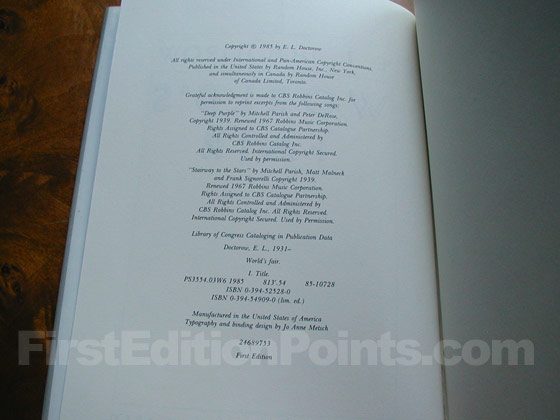 Picture of the first edition copyright page for World's Fair.