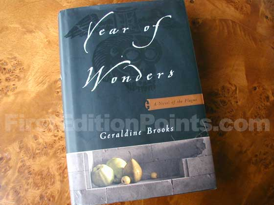 Picture of the 2001 first edition dust jacket for Year of Wonders.