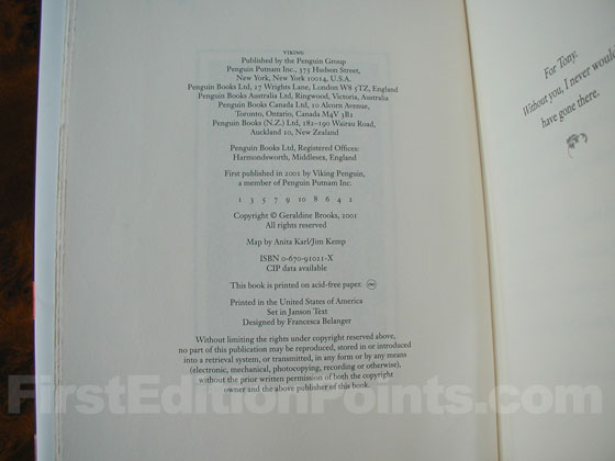 Picture of the first edition copyright page for Year of Wonders.
