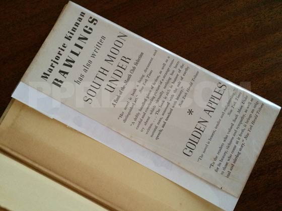 The back dust jacket flap has reviews for South Moon Under, and for Golden Apples. It