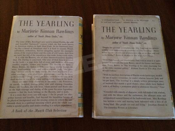The first issue dust jacket on the left lacks any media reviews and touts that it is a