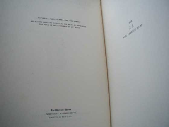 Picture of the first edition copyright page for Years of Grace.