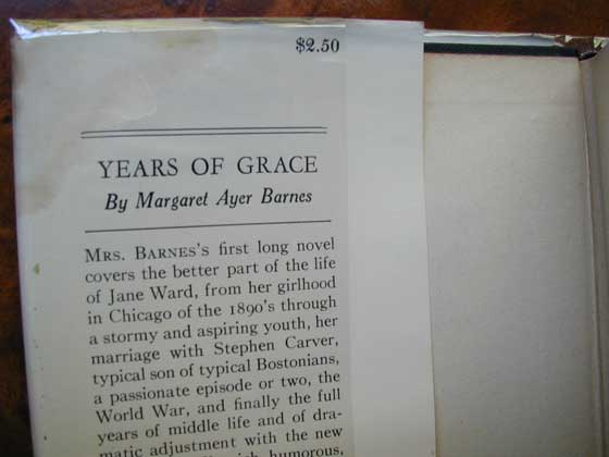Picture of dust jacket where original $2.50 price is found for Years of Grace.