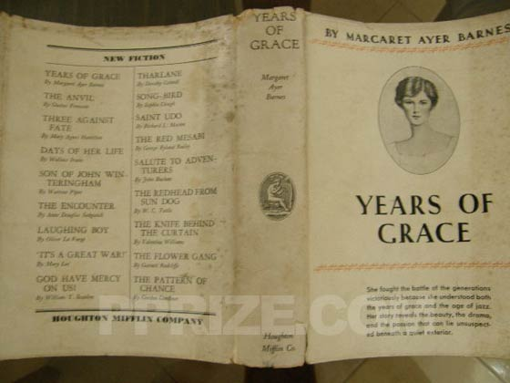 Picture of the back dust jacket for the first edition of Years of Grace.  Photo courtesy