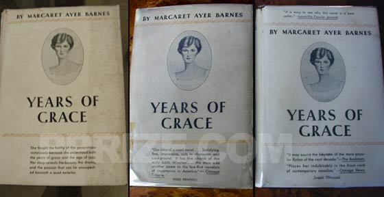 On the left is the first printing of Years of Grace.  In the center is the third 