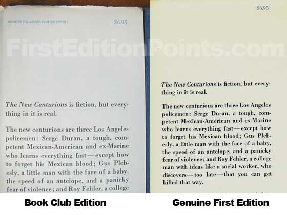 The New Centurions Book Club Edition Has APrice