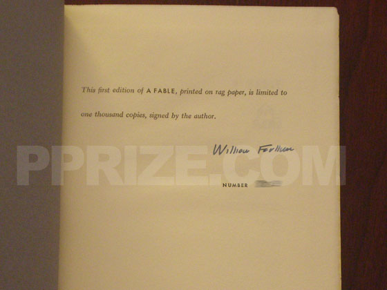 This is the signed and numbered page from the limited first edition of A Fable.