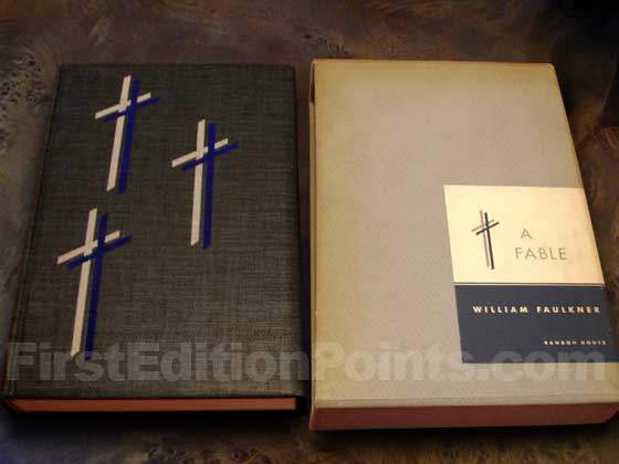 The limited first edition of A Fable was issued in a slipcase.
