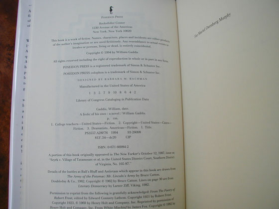 Picture of the first edition copyright page for A Frolic of His Own.