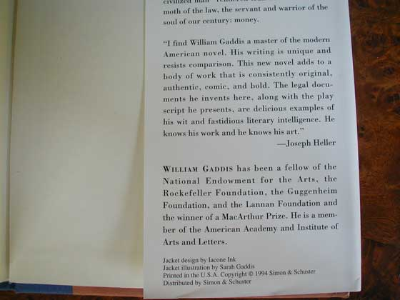 Picture of the back dust jacket flap for the first edition of A Frolic of His Own.