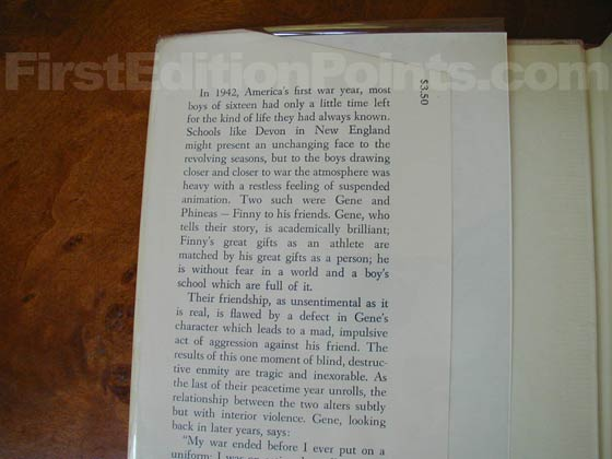 Picture of dust jacket where original $3.50 price is found for A Separate Peace (U.S.).
