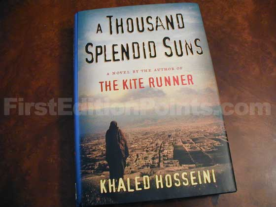 Picture of the 2007 first edition dust jacket for A Thousand Splendid Suns.