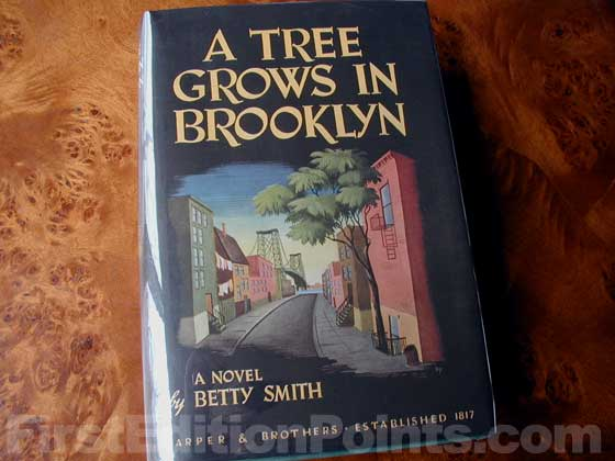 Picture of the 1943 first edition dust jacket for A Tree Grows in Brooklyn.