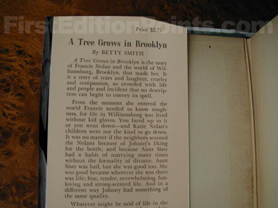Picture of dust jacket where original $2.75 price is found for A Tree Grows in Brooklyn.