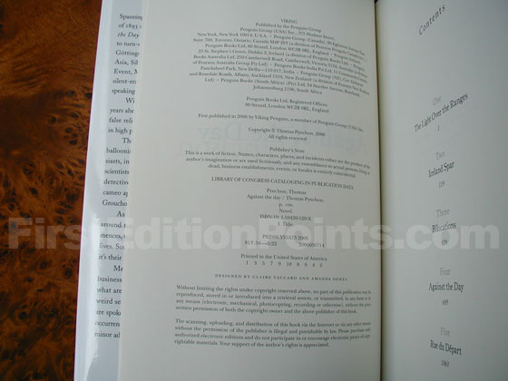 Picture of the first edition copyright page for Against the Day.