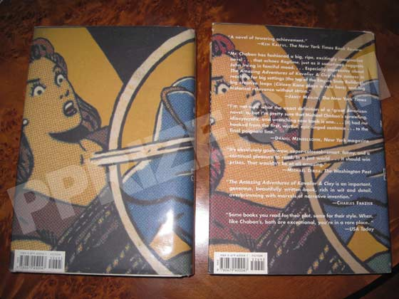 The back of the first issue dust jacket has no reviews like the one on the left.  The