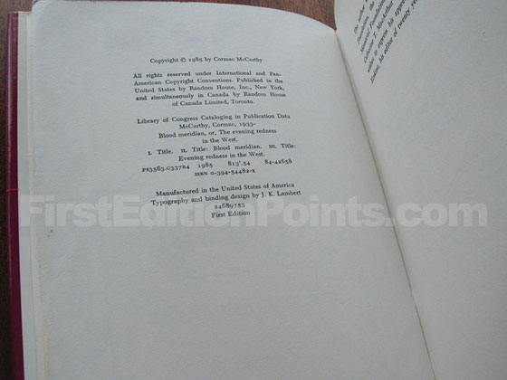 Picture of the first edition copyright page for Blood Meridian.