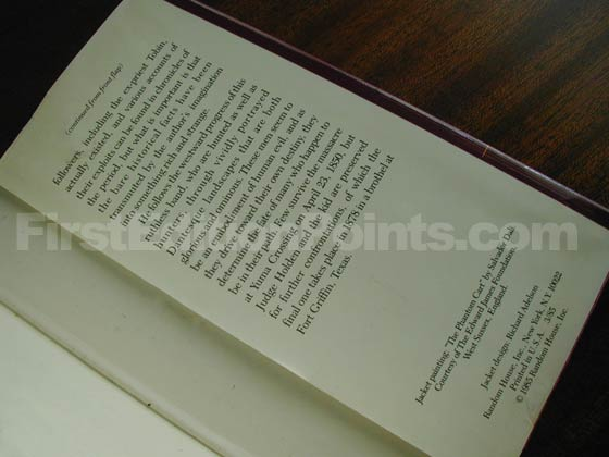 Picture of the back dust jacket flap for the first edition of Blood Meridian.