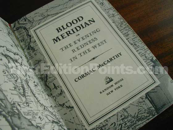 Picture of the first edition title page for Blood Meridian.
