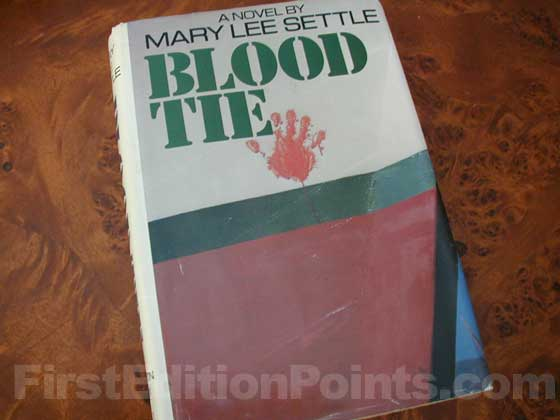 Picture of the 1977 first edition dust jacket for Blood Tie.