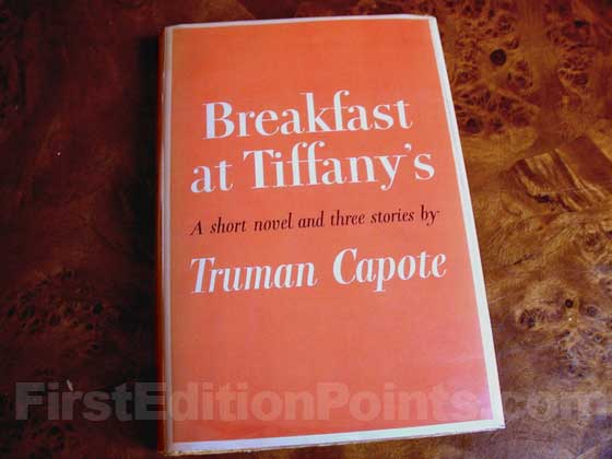 Picture of the 1958 first edition dust jacket for Breakfast at Tiffany's.
