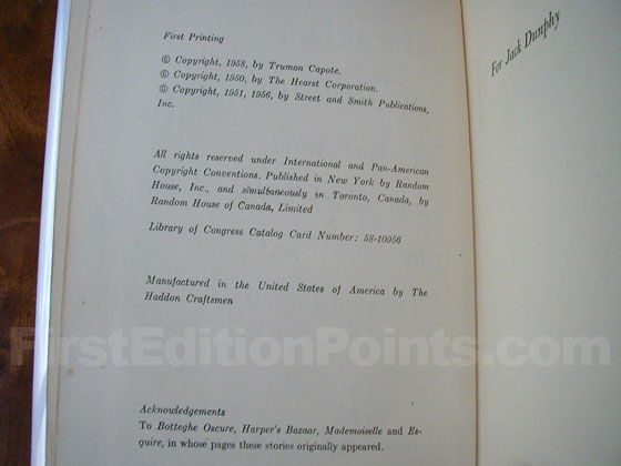 Picture of the first edition copyright page for Breakfast at Tiffany's.