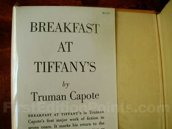 Picture of dust jacket where original $3.50 price is found for Breakfast at