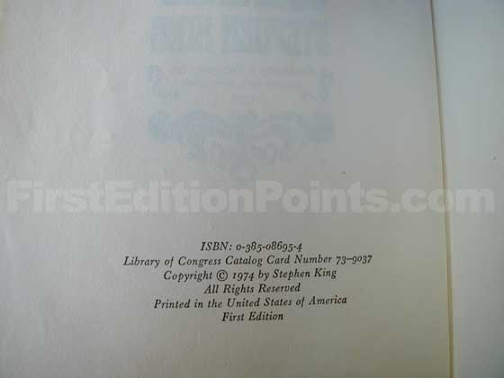 Picture of the first edition copyright page for Carrie.