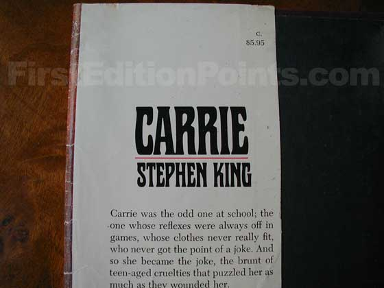 Picture of dust jacket where original $5.95 price is found for Carrie.