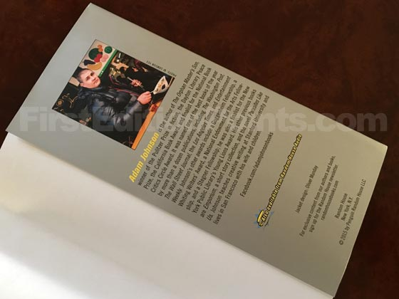 Picture of the back dust jacket flap for the first edition of Fortune Smiles.