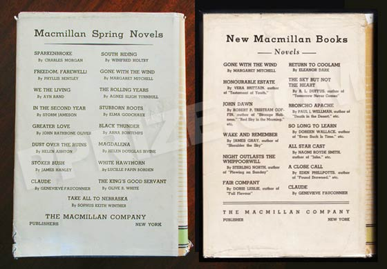 The first issue dust jacket lists Gone With the Wind in the second column of the