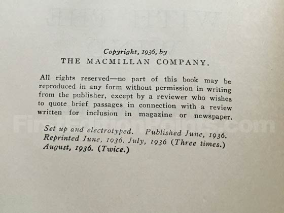The copyright page in this photo is from an eighth printing of Gone With the Wind.