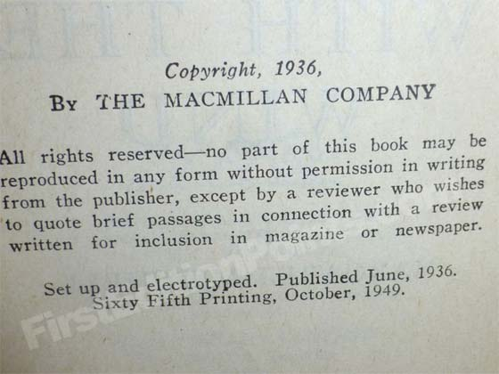 This copyright page is from a sixty fifth printing produced in 1949. By this point the