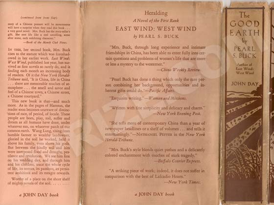 Photo of the first edition dust jacket back flap, back panel, and spine.