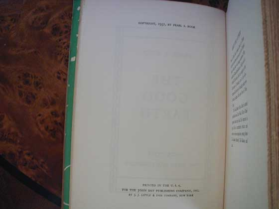 First edition copyright page for The Good Earth.